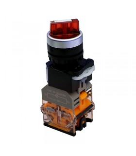 کلید دو طرفه چراغ دار قرمز دو کنتاکت 1-0-2 پارس فانال PFP50-22D-20XDS