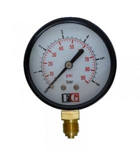 گیج فشار لوله بوردون 60 بار خشک ایستاده 10 سانت اف جی (FG)