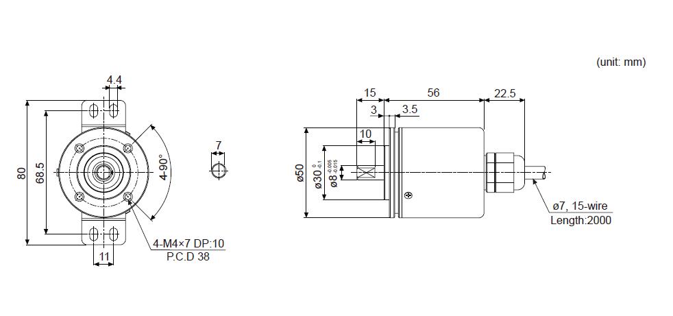 ابعاد انکودر آتونیکس EP50S8-1024-2F-N-24