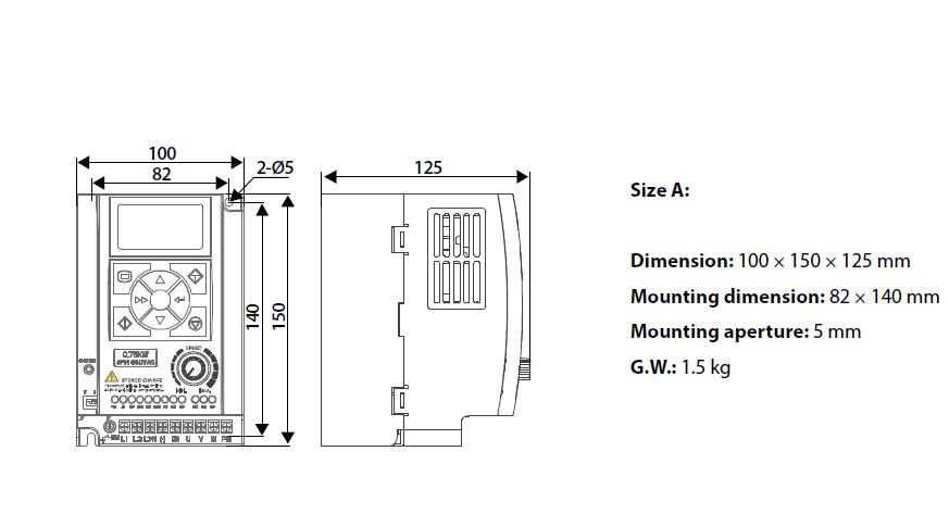 ابعاد اینورتر اچ پی مونت مدل HD09-4S1P5G
