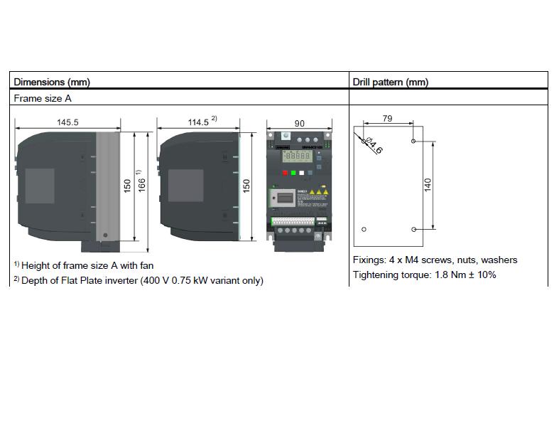 ابعاد اینورتر V20 زیمنس مدل 6SL3210-5BE22-2UV0