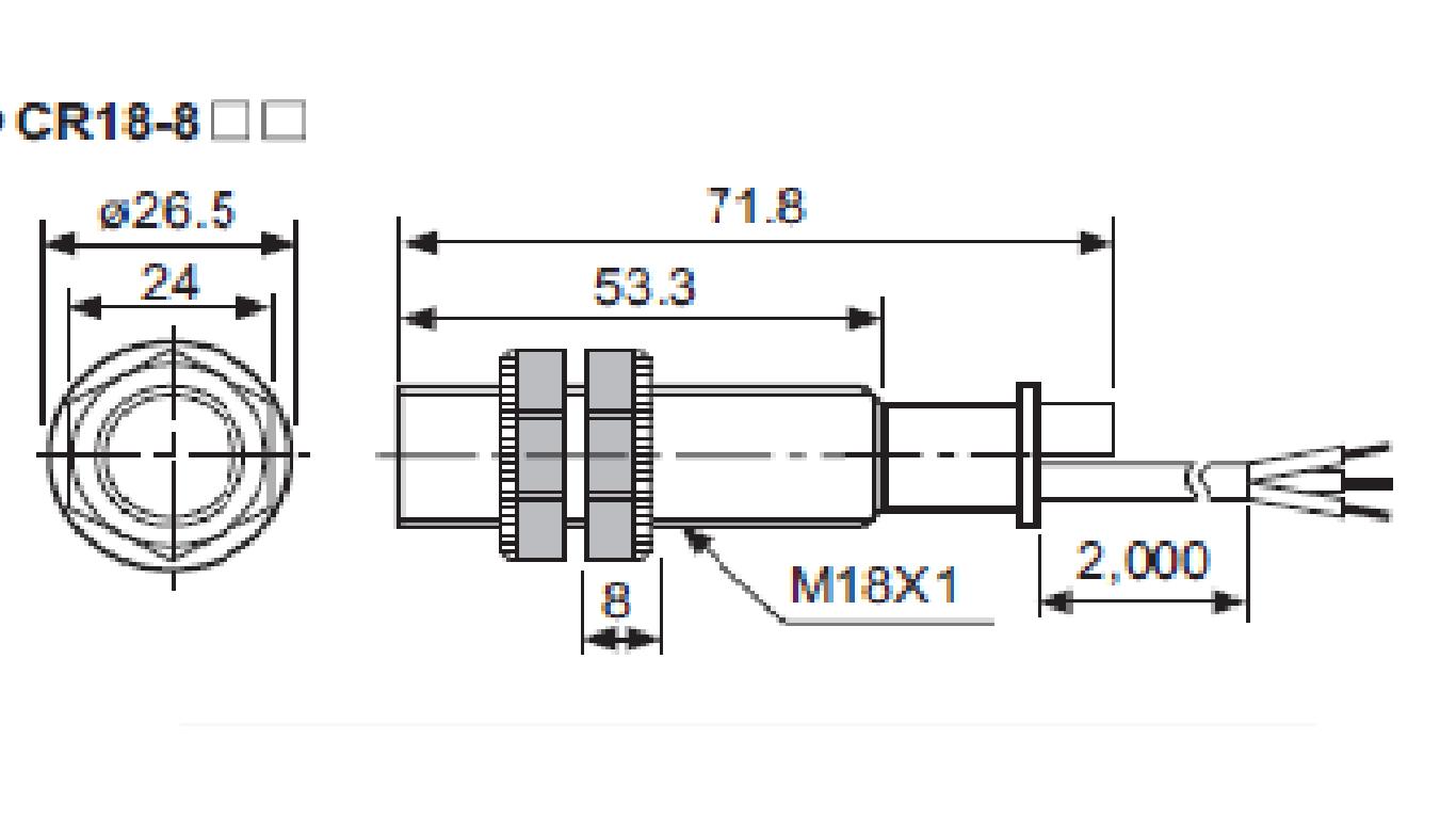 ابعاد سنسور خازنی آتونیکس CR18-8AC