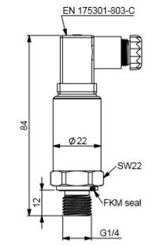 ابعاد سنسور فشار هاگلر سری HOT