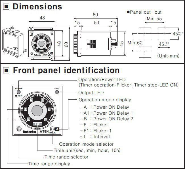 ابعاد و ظاهر عملکردی تایمر AT8N
