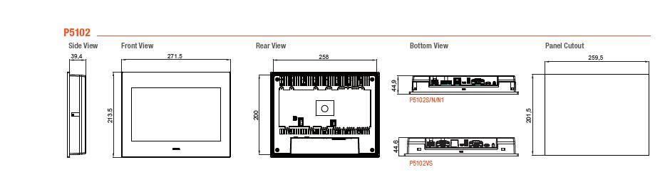 ابعاد HMI فتک مدل P5102S