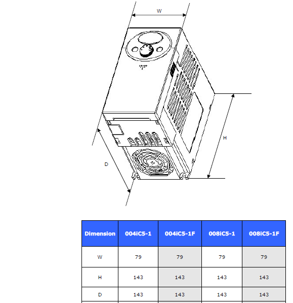 ابعاد اینورتر LS مدل SV008iC5-1