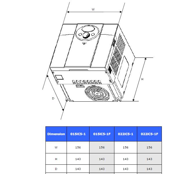 ابعاد اینورتر LS مدل SV015iC5-1
