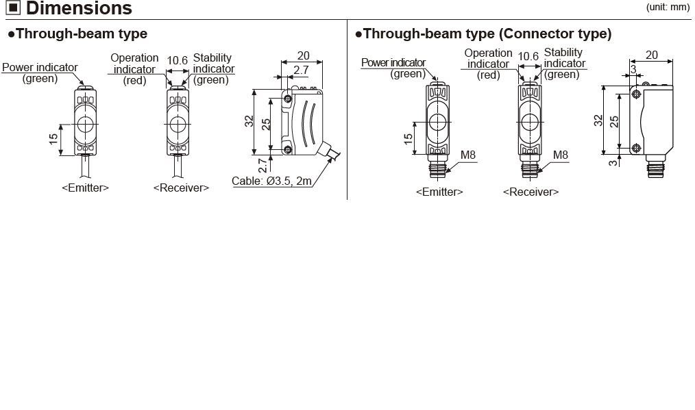 ابعاد سنسور نوری آتونیکس BJ1M-TDT
