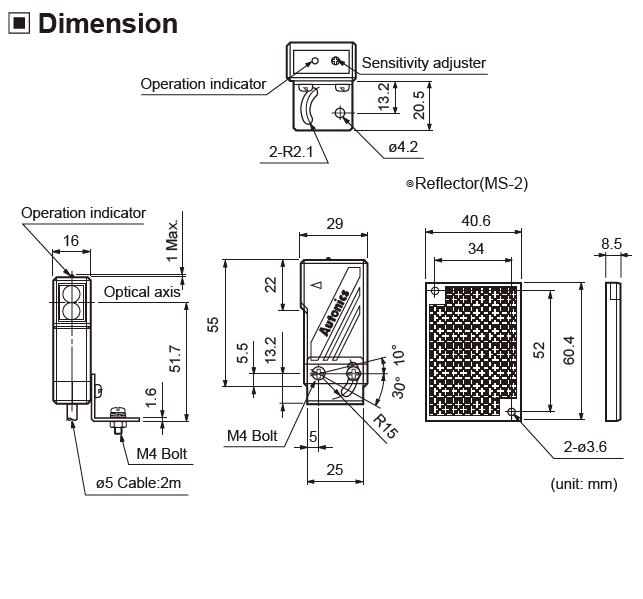 ابعاد سنسور نوری آتونیکس BMS300-DDT