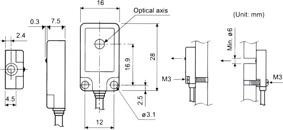 ابعاد سنسور نوری آتونیکس BPS3M-TDT
