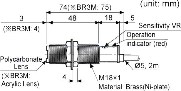 ابعاد سنسور نوری آتونیکس BR400-DDT-P