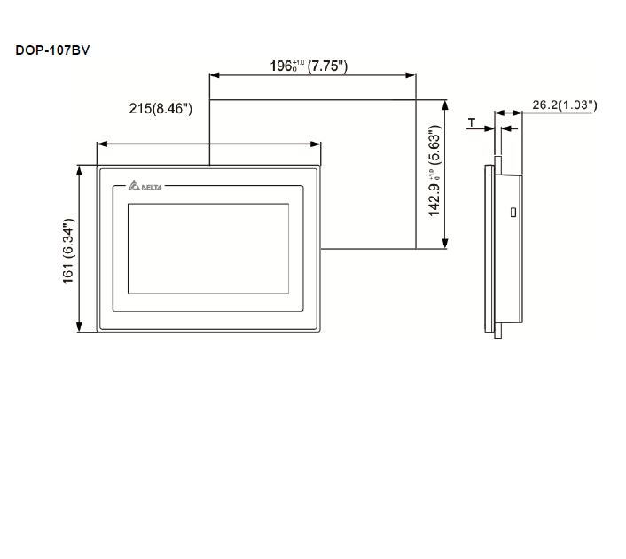 ابعاد HMI دلتا مدل DOP-107BV