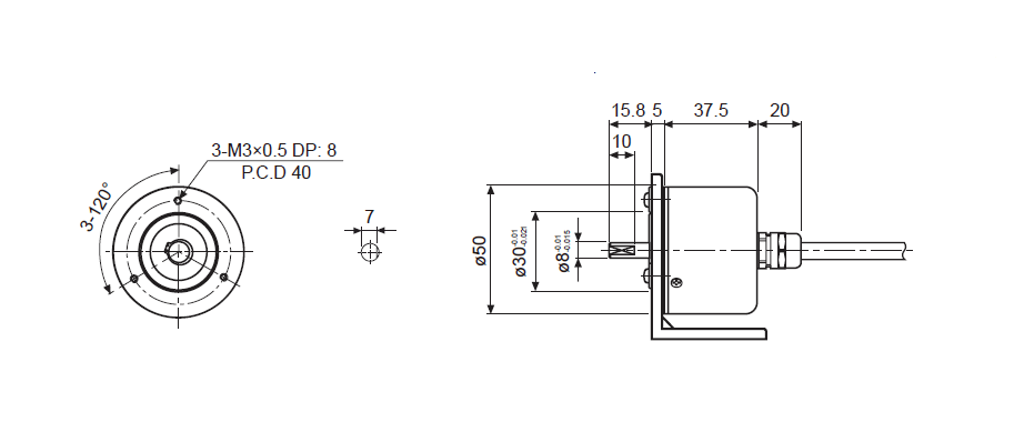ابعاد انکودر آتونیکس E50S8-5000-3-T-24