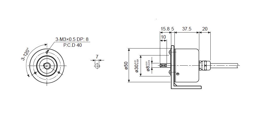 ابعاد انکودر آتونیکس E50S8-1024-6-L-5