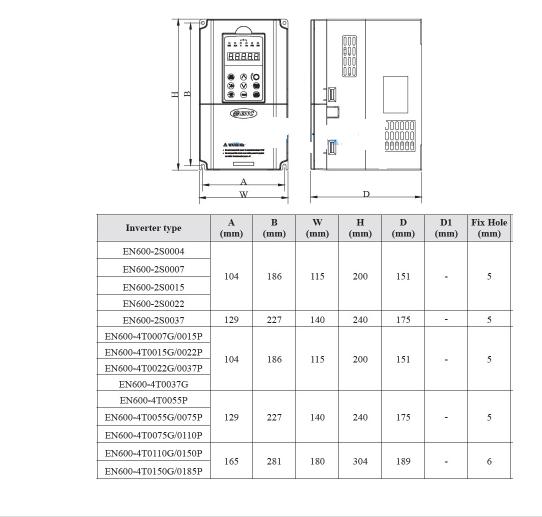 ابعاد اینورتر 2.2 کیلووات سه فاز EN600