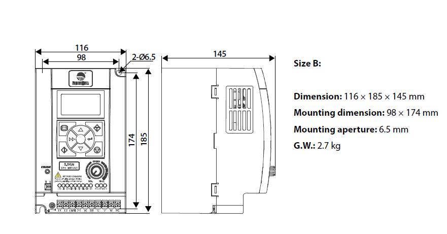 ابعاد اینورتر اچ پی مونت مدل HD09-4T5P5G