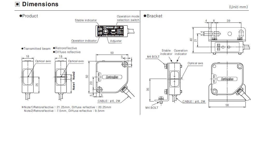 ابعاد سنسور نوری آتونیکس BEN300-DFR