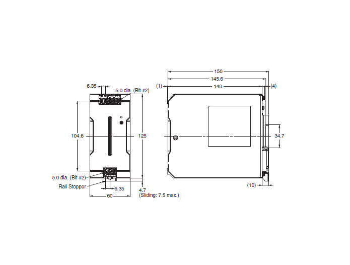 ابعاد منبع تغذیه 24 ولت 10 آمپر امرن سری S8VK-C