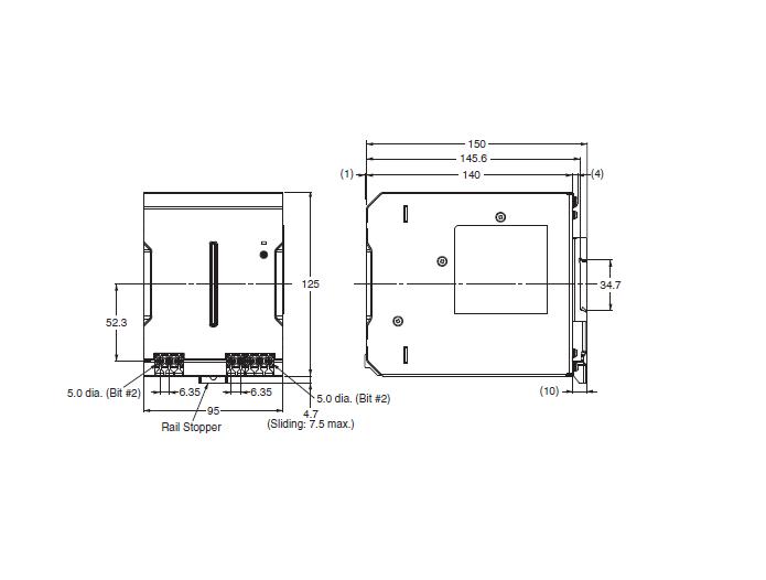 ابعاد منبع تغذیه 24 ولت 20  آمپر امرن سری S8VK-C