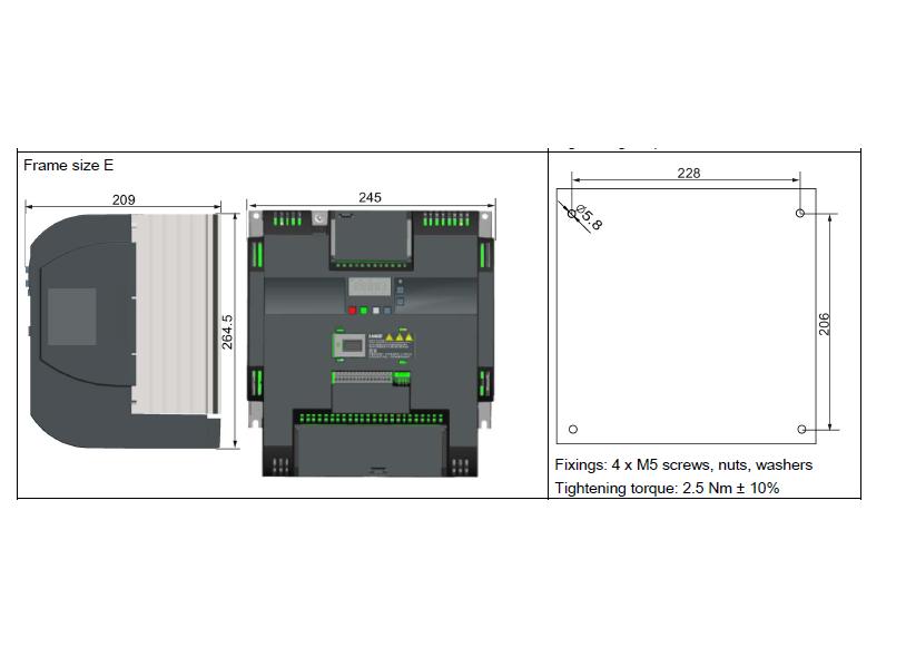 ابعاد اینورتر V20 زیمنس مدل 6SL3210-5BE31-8UV0