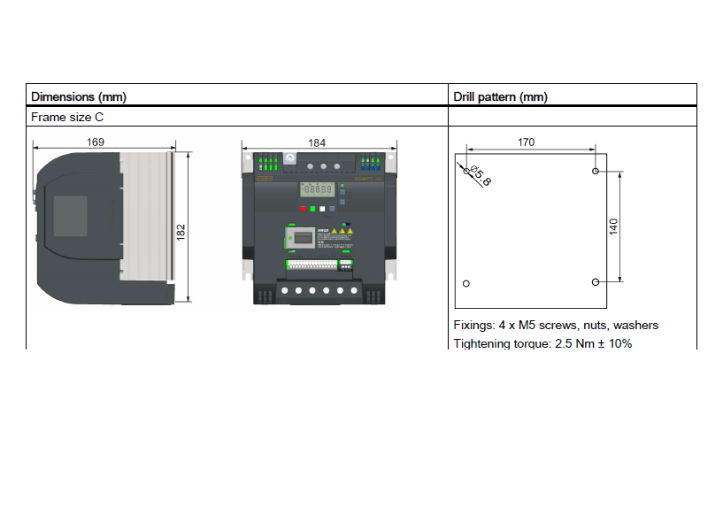 ابعاد اینورتر V20 زیمنس مدل 6SL3210-5BB22-2AV0