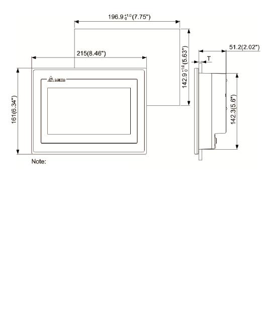 ابعاد HMI دلتا مدل DOP-107EV