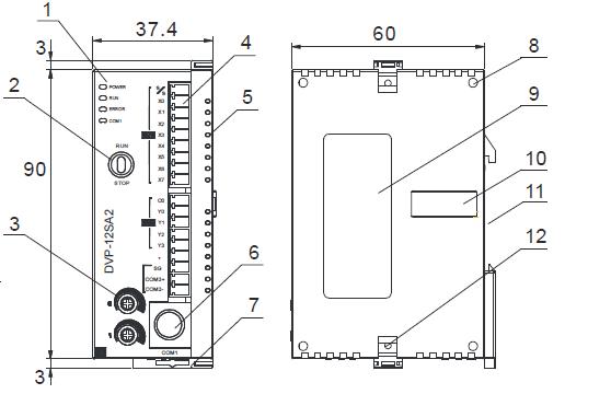 ابعاد پی ال سی دلتا DVP12SA211T