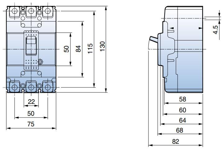 ابعاد کلید اتواماتیک LS