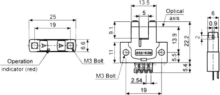 ابعاد سنسور نوری آتونیکس BS5-K2M