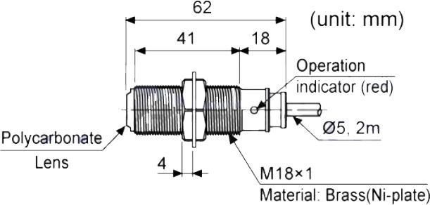 ابعاد سنسور نوری آتونیکس BR20M-TDTD-P