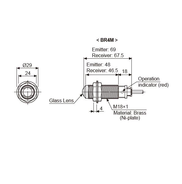 ابعاد سنسور نوری آتونیکس  BR4M-TDTL-P