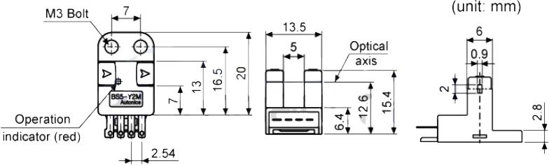ابعاد سنسور نوری آتونیکس BS5-Y2M