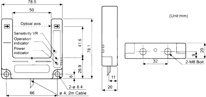 ابعاد چشم الکترونیک آتونیکس BUP-50S-P