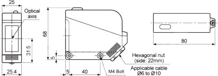 ابعاد چشم الکترونیک آتونیکس BX15M-TFR-T