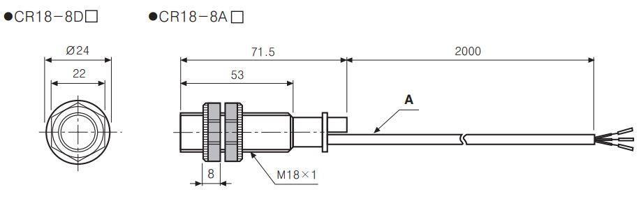 ابعاد سنسور خازنی سری CR18