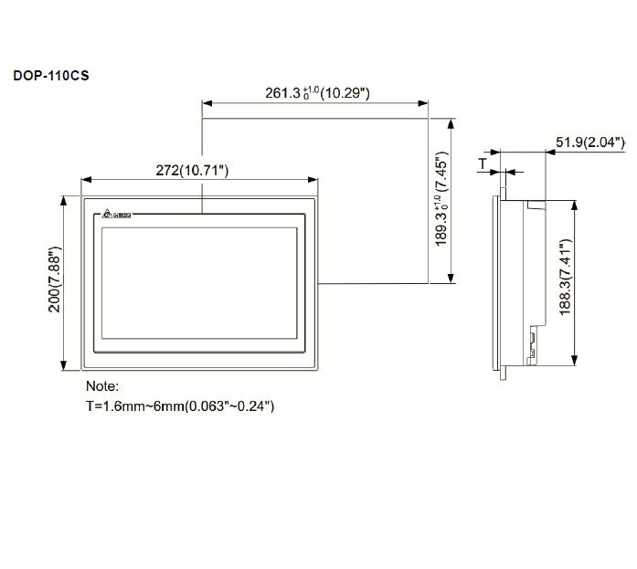 ابعاد HMI دلتا مدل DOP-110CS
