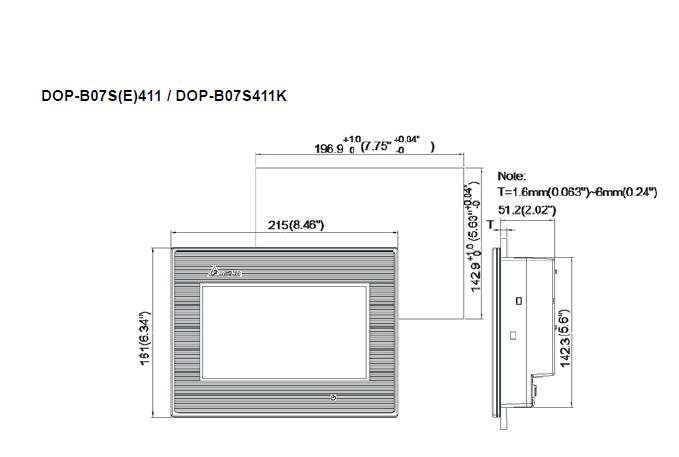 ابعاد اچ ام آی دلتا مدل DOP-B07E411