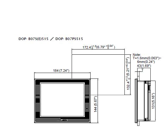 ابعاد اچ ام آی دلتا مدل DOP-B07S515