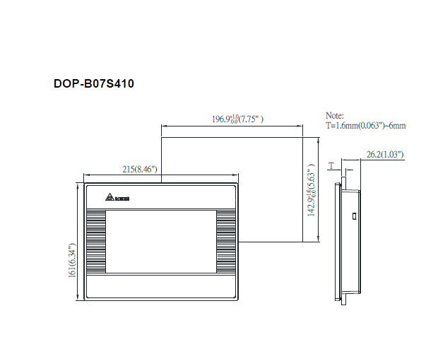 ابعاد اچ ام آی دلتا DOP-B07S410