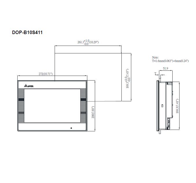 ابعاد اچ ام آی دلتا مدل DOP-B10S411
