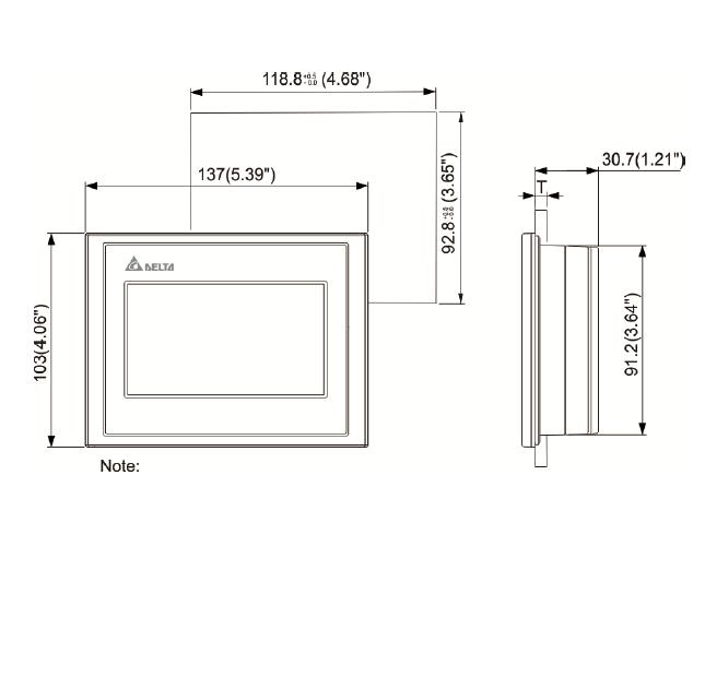 ابعاد HMI دلتا مدل DOP-103BQ