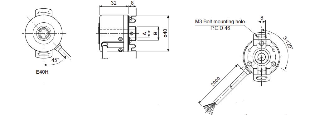 ابعاد روتاری انکودر آتونیکس E40H8-100-6-L-5