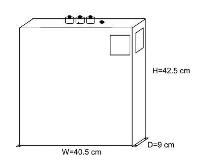 ابعاد خازن 3 فاز فشار ضعیف مکعبی DUCATI (ایتالیا) 50 کیلووار 400 ولت