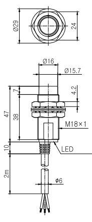 ابعاد سنسور القایی کوینو IPX-D18-05E-N