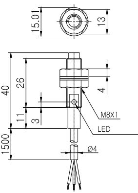 ابعاد سنسور القایی کوینو KPX-D08-E-MN
