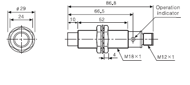 ابعاد سنسور PRCML18-8AC