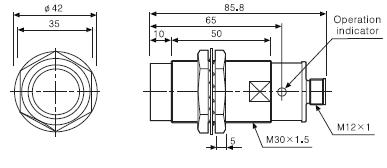 ابعاد سنسور القایی PRCML30-15AO