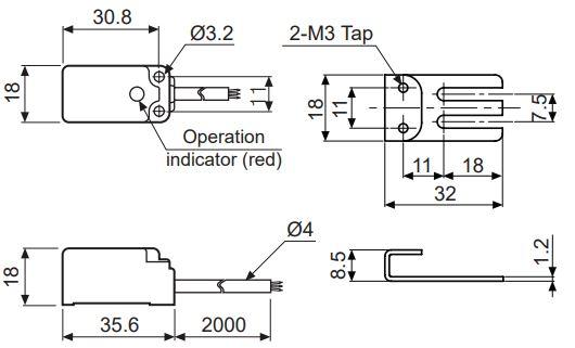 ابعاد سنسور القایی آتونیکسPSN17-8DN