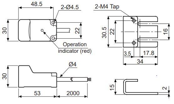 ابعاد سنسور القایی آتونیکس PSN30-15DP
