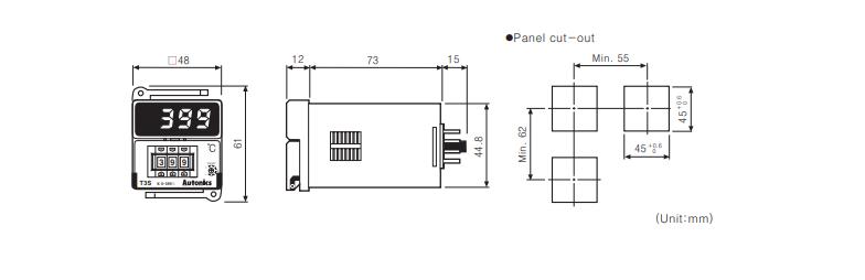 ابعاد ترموستات آتونیکس T3S-B4RK4C